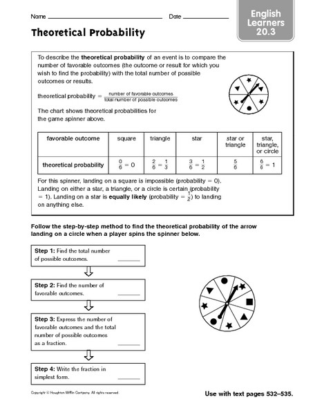 Probability Worksheet 5th Grade English Learners theoretical Probability Worksheet for 5th