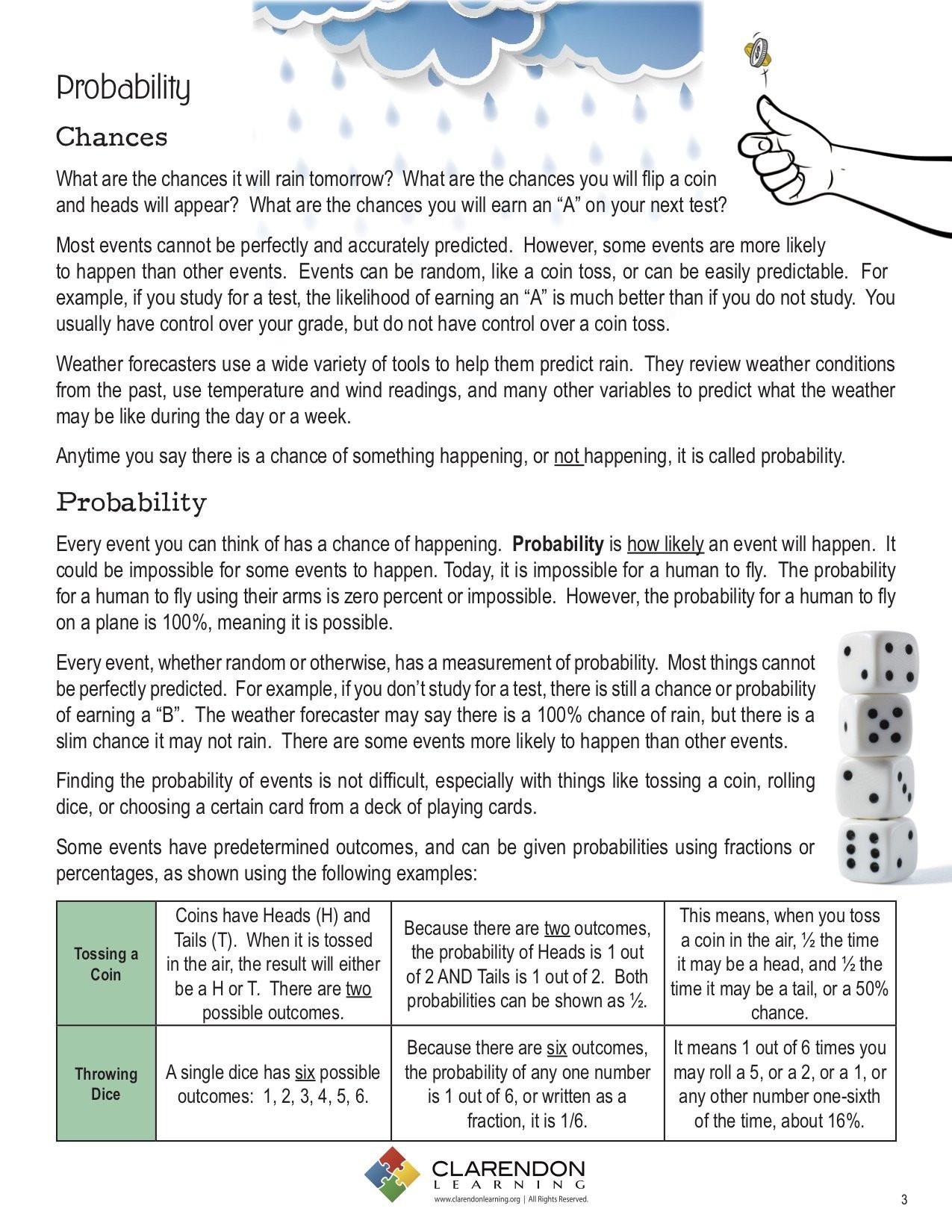 Probability Worksheet 5th Grade Probability