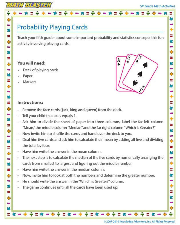 Probability Worksheet 5th Grade Probability Playing Cards Line 5th Grade Probability
