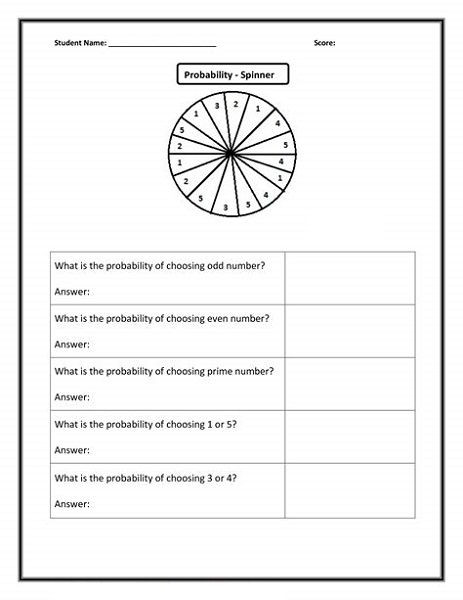 Probability Worksheet 6th Grade Fun Math Worksheets for 6th Graders
