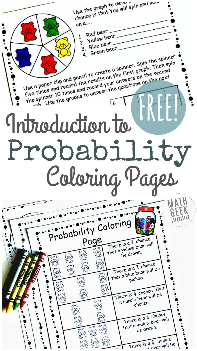 Probability Worksheet 6th Grade Simple Coloring Probability Worksheets for Grades 4 6 Free