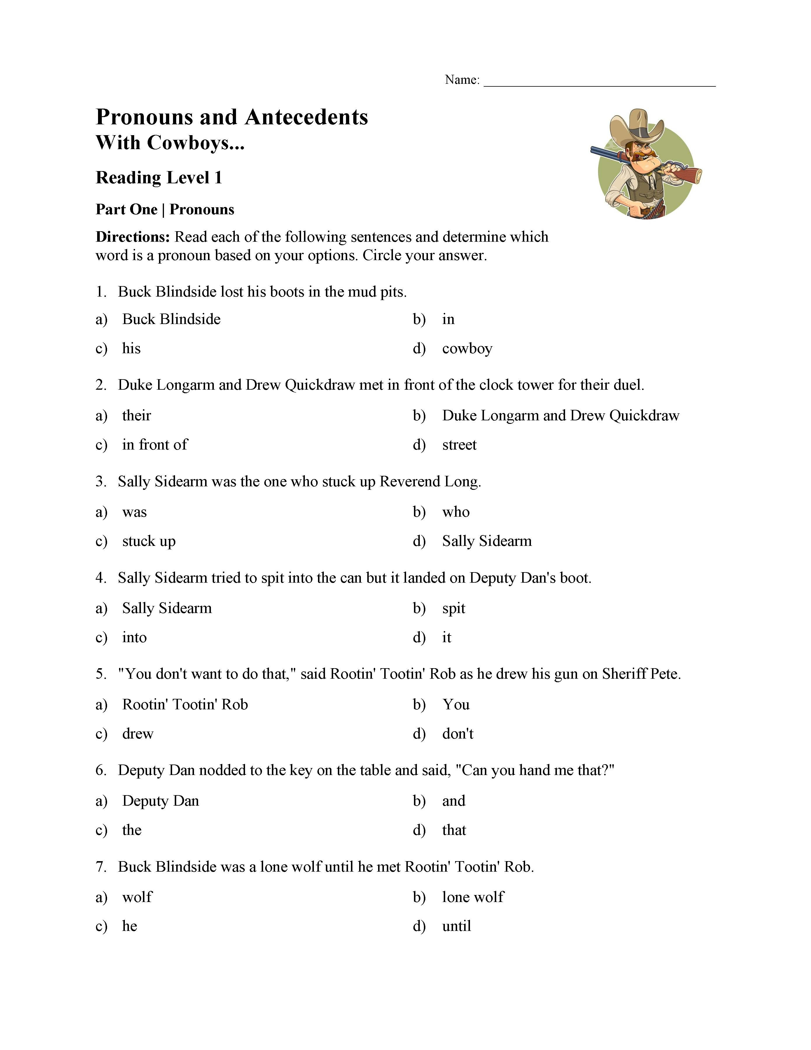 Pronoun Worksheets 5th Grade Pronoun and Antecedent Test with Cowboys