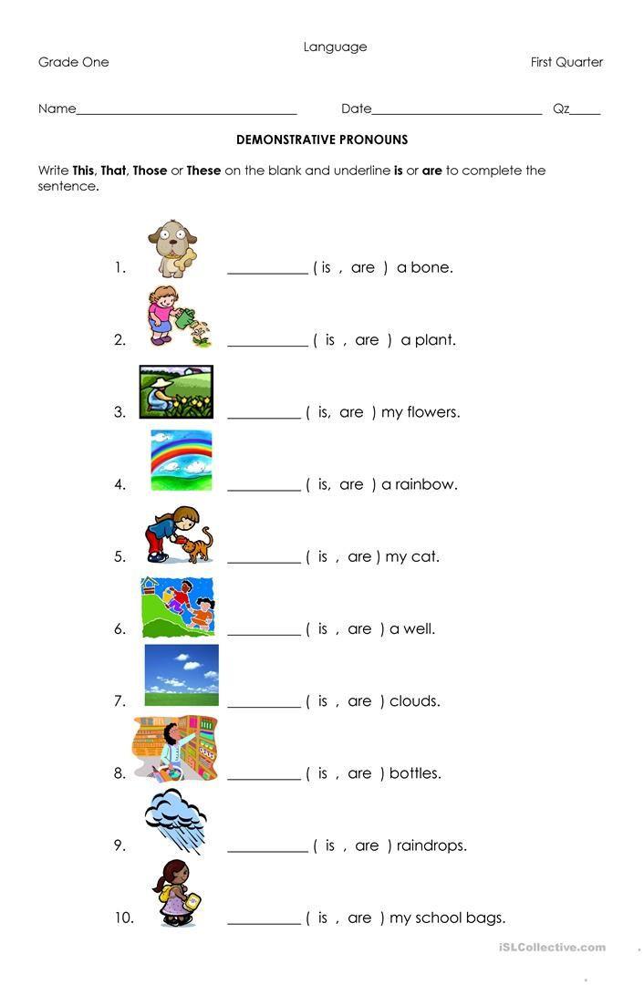Pronoun Worksheets for Kindergarten Free Demonstrative Pronouns