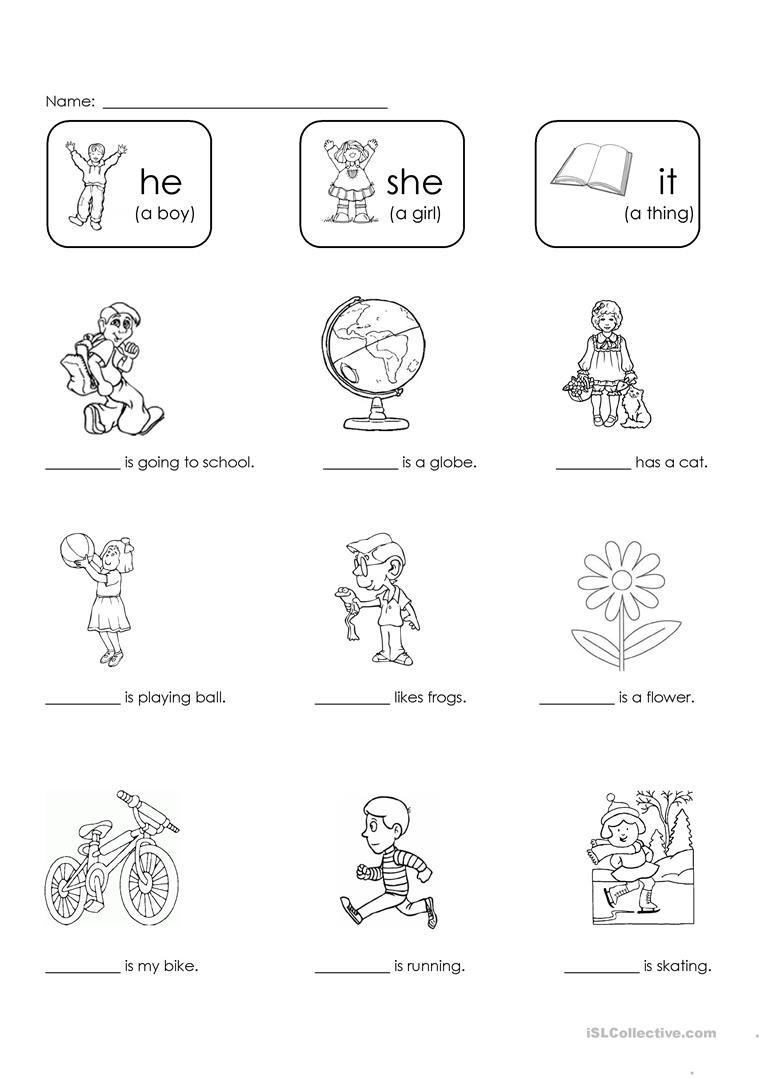 Pronoun Worksheets for Kindergarten Free He She or It English Esl Worksheets for Distance