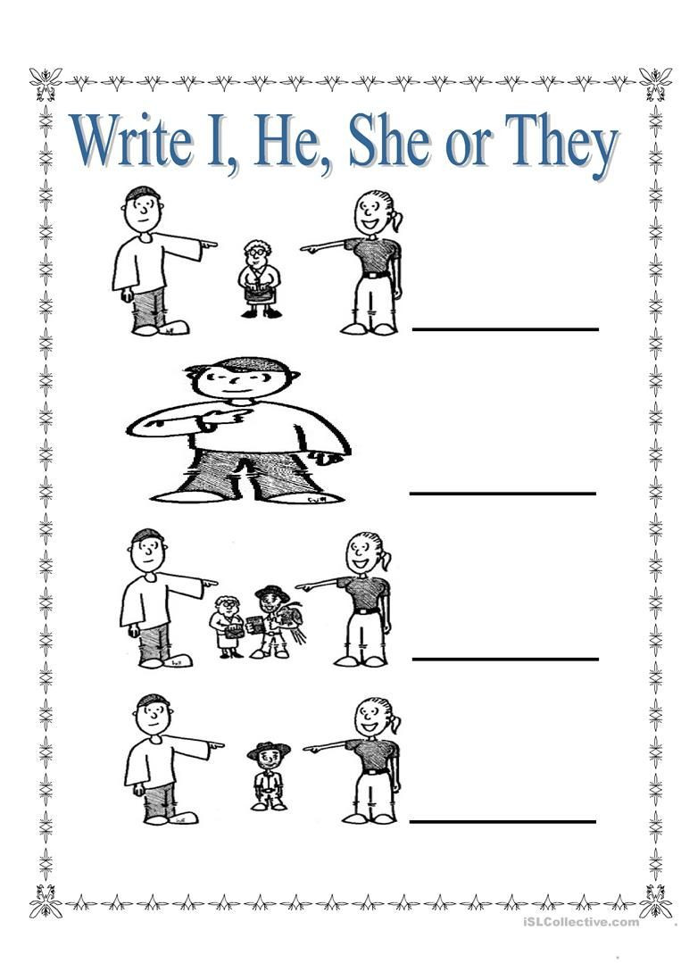 Pronoun Worksheets for Kindergarten Free Personal Pronouns I She He and they