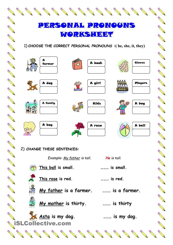 Pronoun Worksheets for Kindergarten Free Personal Pronouns Worksheet