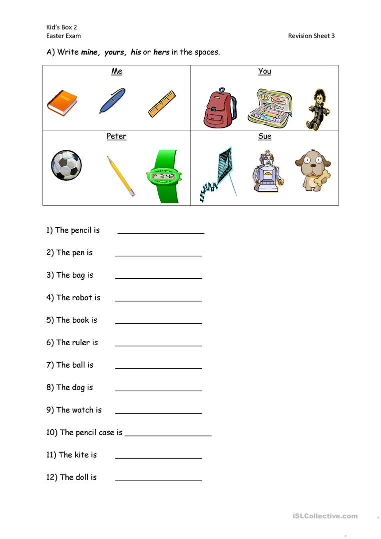 Pronoun Worksheets for Kindergarten Free Possessive Pronouns English Esl Worksheets for Distance
