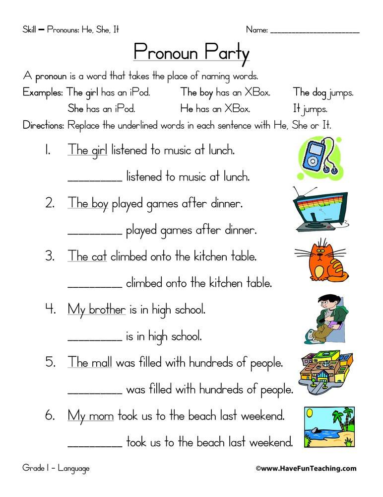 Pronoun Worksheets for Kindergarten Free Pronoun Worksheet