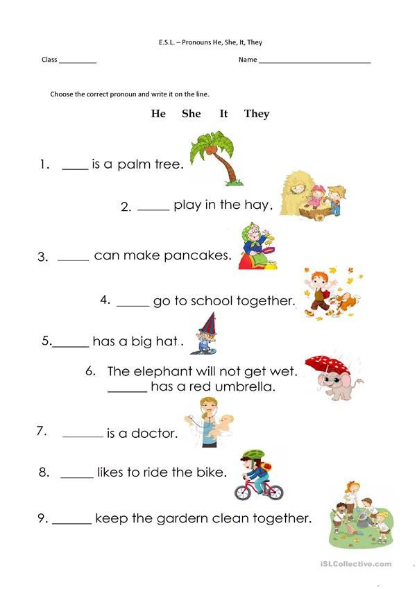 Pronoun Worksheets for Kindergarten Free Pronoun Worksheets for Kindergarten Free Pronouns He She It