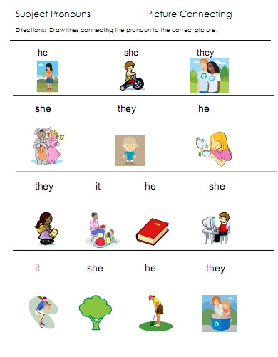 Pronoun Worksheets for Kindergarten Free Pronouns