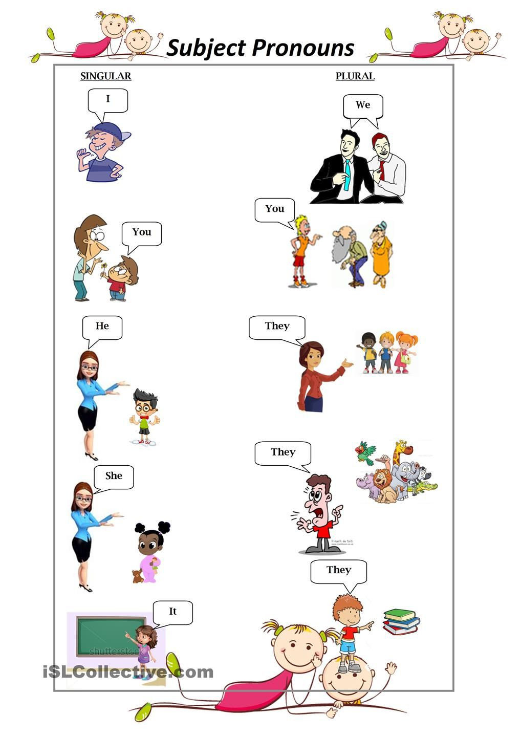 Pronoun Worksheets for Kindergarten Free Subject Personal Pronouns