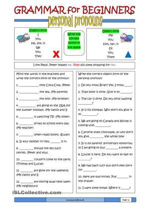 Pronoun Worksheets Second Grade Grammar for Beginners Personal Pronouns