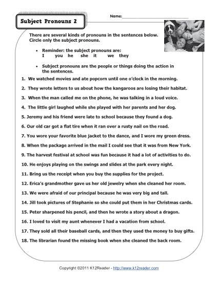 Pronouns Worksheet 2nd Grade Subject Pronouns 2