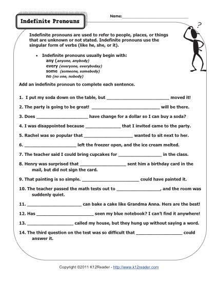Pronouns Worksheets 5th Grade Indefinite Pronouns