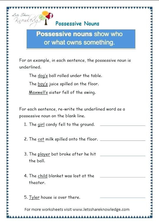 Pronouns Worksheets 5th Grade Nouns and Pronouns Worksheets Personal and Possessive