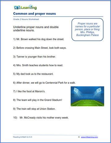 Proper Nouns Worksheet 2nd Grade Grade 2 Nouns Worksheets
