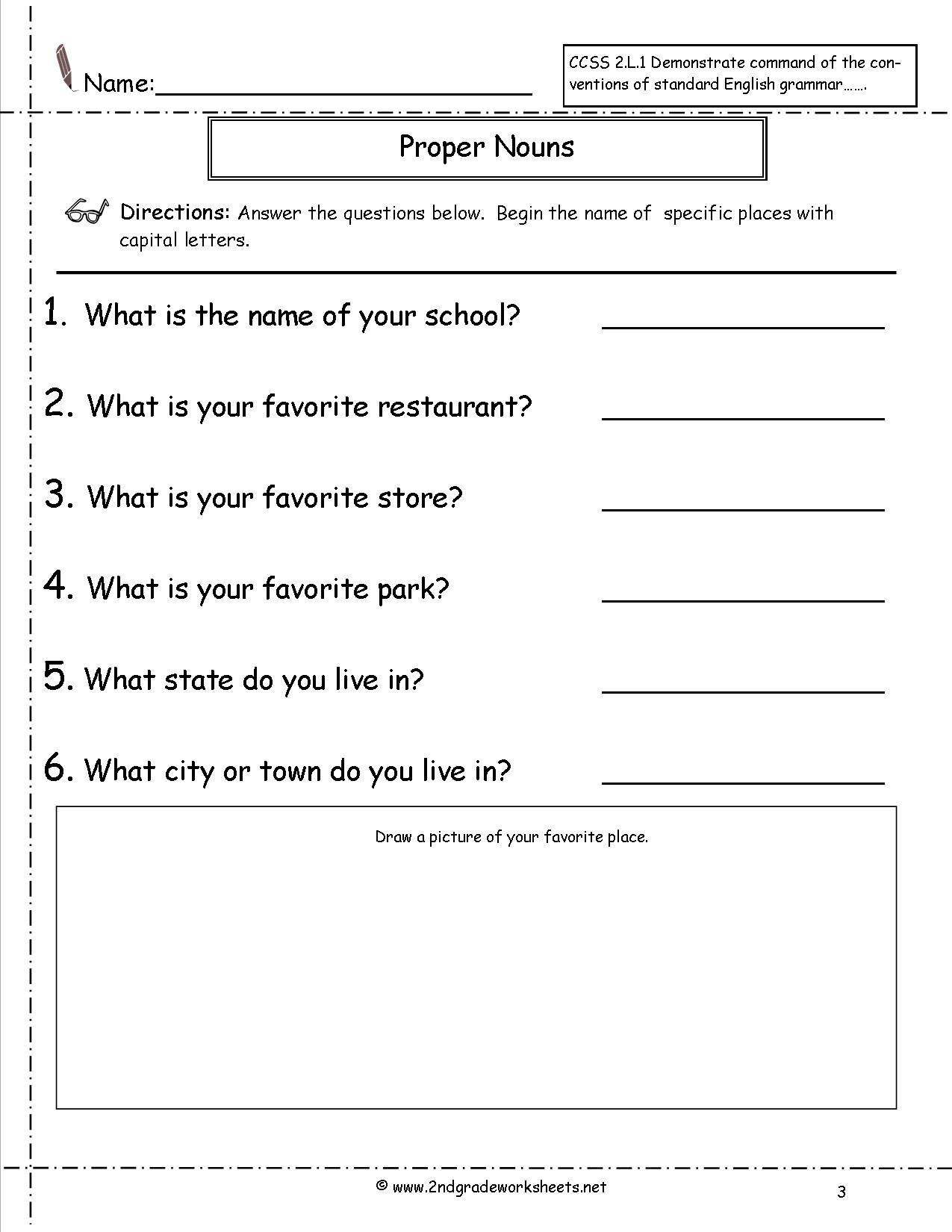 Proper Nouns Worksheet 2nd Grade Mon and Proper Nouns Worksheet