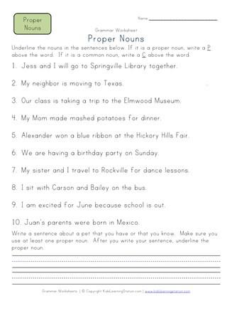 Proper Nouns Worksheet 2nd Grade Proper Nouns Worksheet