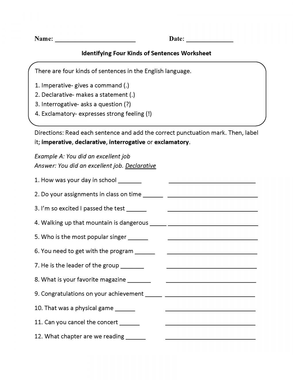 Punctuation Worksheets 5th Grade 12 4 Types Sentences Worksheet 5th Grade Grade