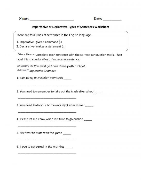Punctuation Worksheets 5th Grade 4 Types Sentences Worksheet 5th Grade and Pin