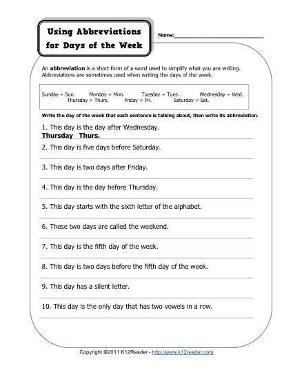 Punctuation Worksheets 5th Grade Abbreviation Days Of the Week