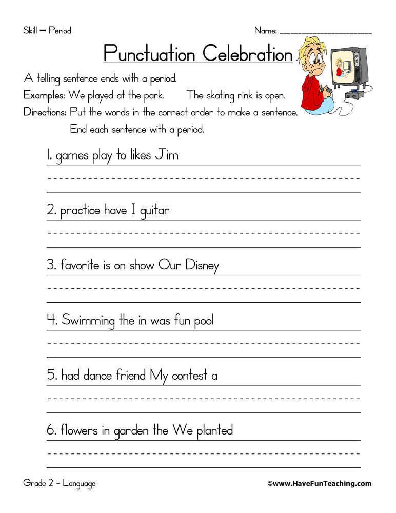 Punctuation Worksheets 5th Grade Period Worksheet