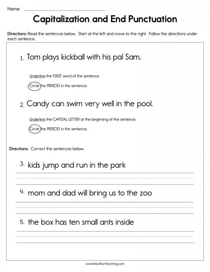 Punctuation Worksheets for Kindergarten Finish that Sentence Punctuation Worksheets