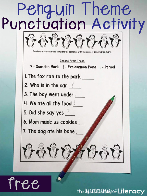Punctuation Worksheets for Kindergarten Free Printable Penguin themed Punctuation Activity for Winter