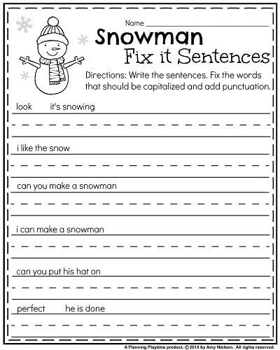 Punctuation Worksheets for Kindergarten January Kindergarten Worksheets