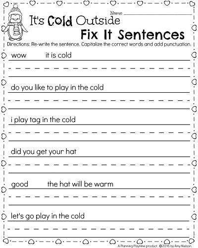 Punctuation Worksheets for Kindergarten Kindergarten Math and Literacy Worksheets for February
