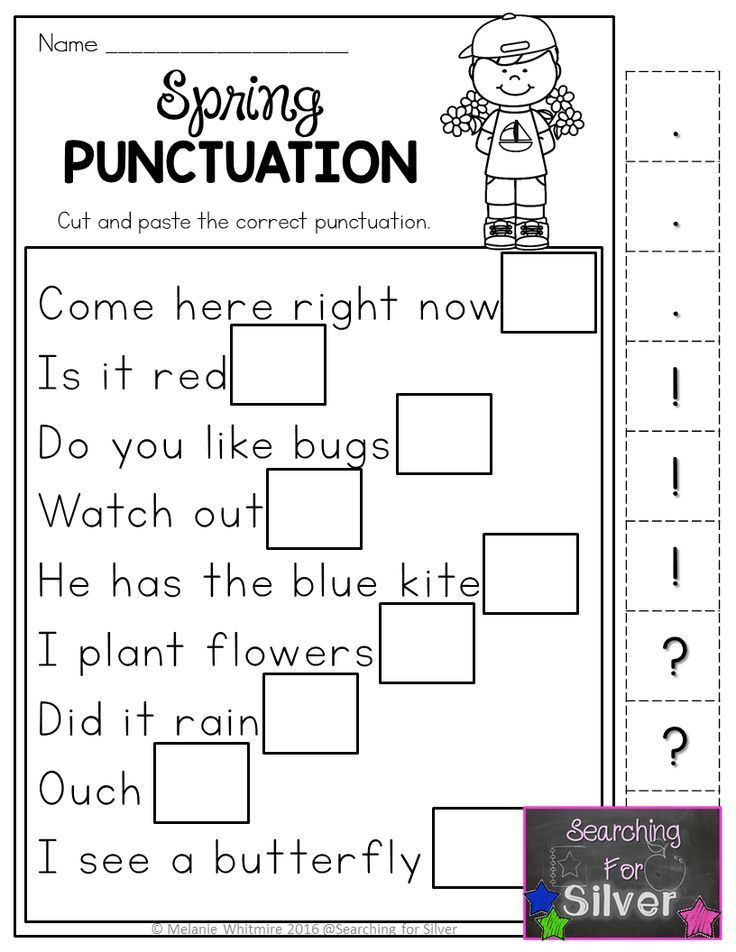 Punctuation Worksheets for Kindergarten Learning Right Punctuation Marks