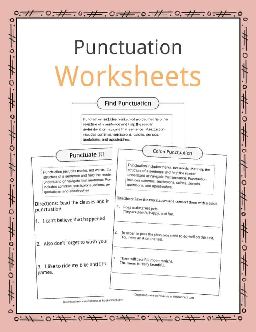 Punctuation Worksheets for Kindergarten Punctuation Examples Worksheets & Description for Kids