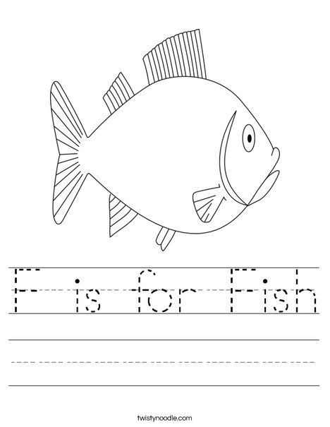 Rainbow Fish Printable Worksheets F is for Fish Worksheet Twisty Noodle