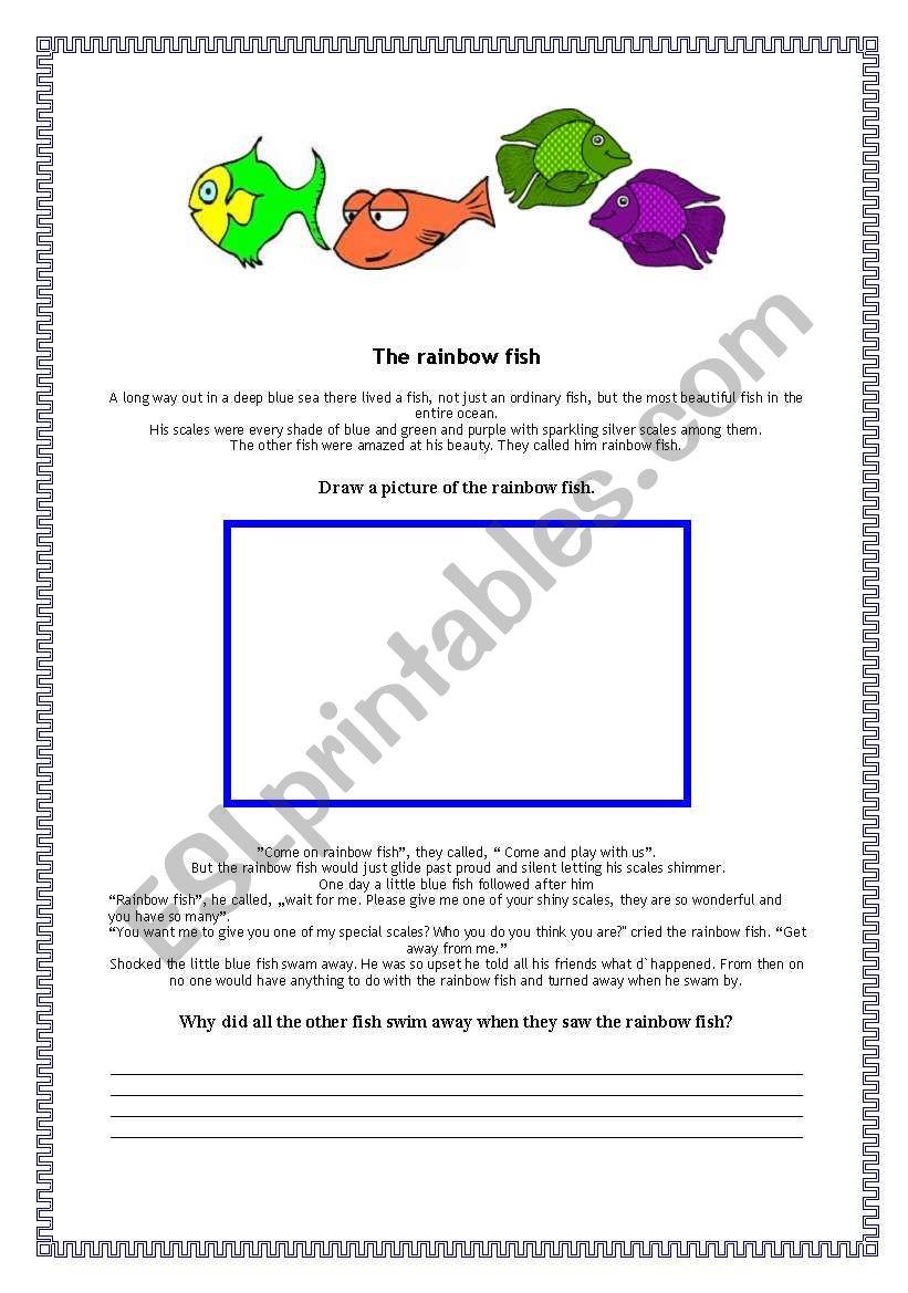 Rainbow Fish Printable Worksheets the Rainbow Fish Esl Worksheet by Rotkappe