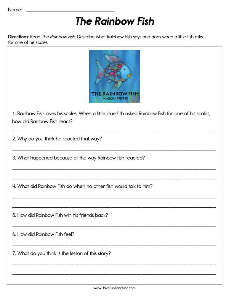 Rainbow Fish Printable Worksheets the Rainbow Fish Worksheet