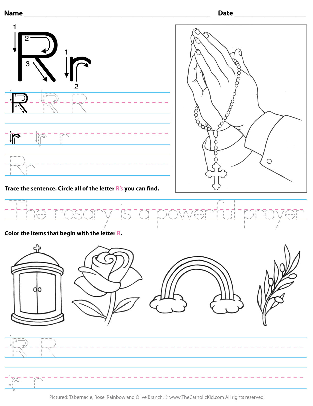 Rainbow Worksheets for Kindergarten Catholic Alphabet Letter R Worksheet Preschool Kindergarten