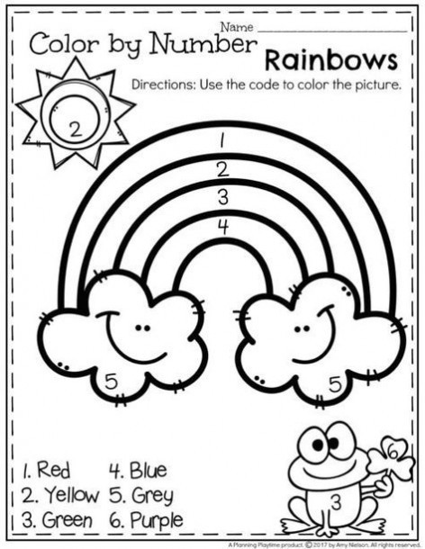 Rainbow Worksheets for Kindergarten Rainbow Color by Numbers Kindergarten