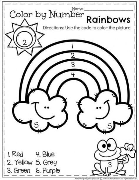 Rainbow Worksheets for Kindergarten Rainbow Color by Numbers Kindergarten