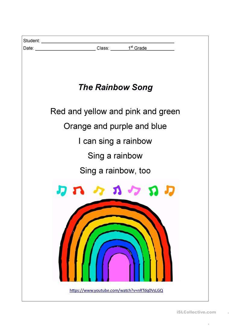 Rainbow Worksheets for Kindergarten the Rainbow song Lyrics English Esl Worksheets for