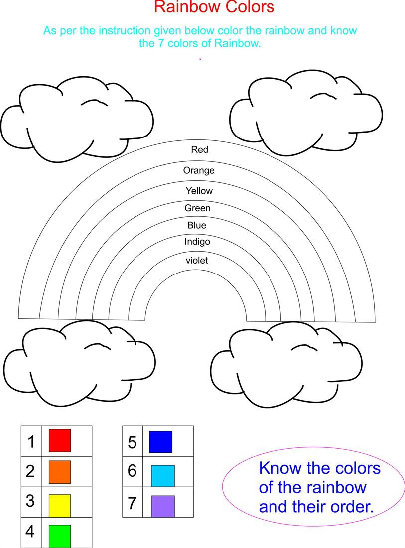 Rainbow Worksheets Preschool Color Rainbow