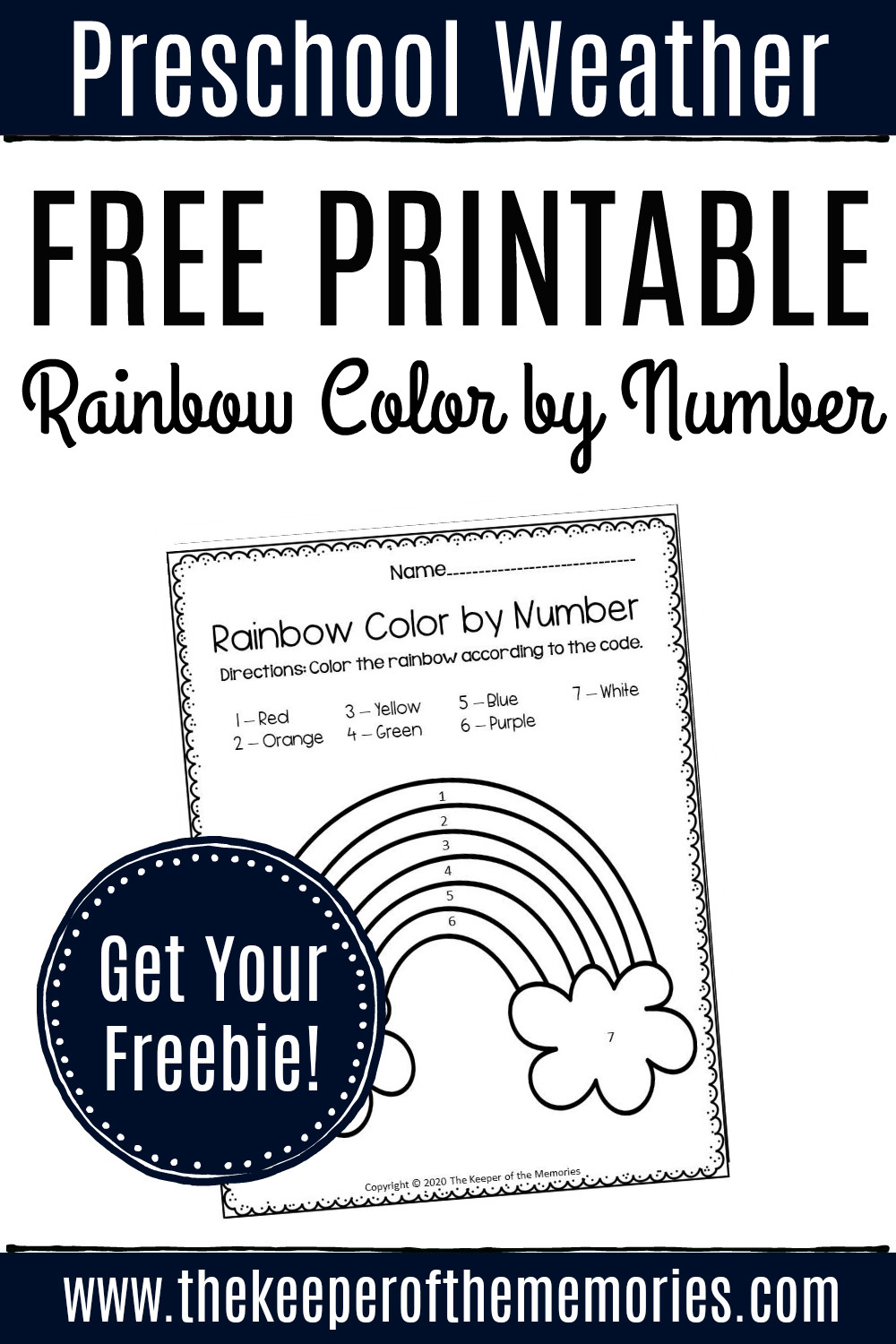 Rainbow Worksheets Preschool Free Printable Color by Number Rainbow Preschool Worksheet