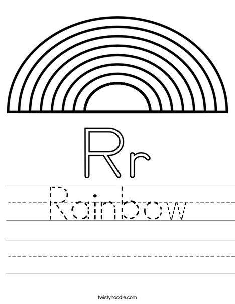 Rainbow Worksheets Preschool R is for Rainbow Worksheet