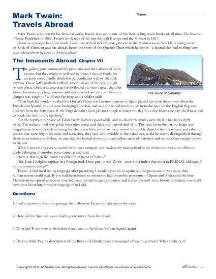 Reading Comprehension 7th Grade Worksheet Mark Twain Travels Abroad
