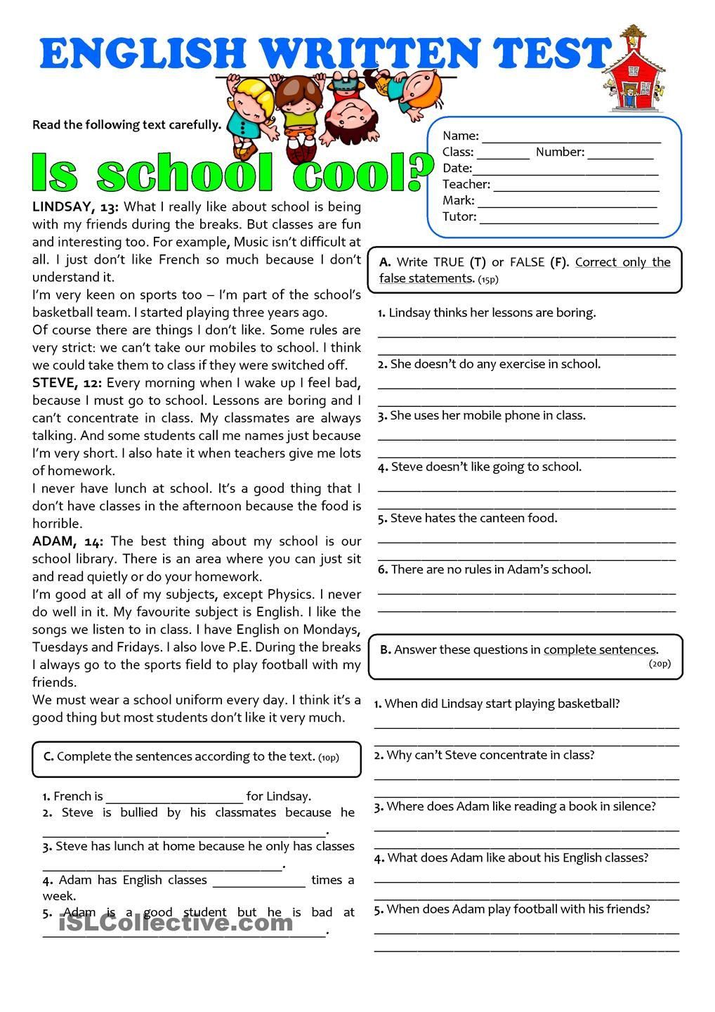 Reading Comprehension 7th Grade Worksheet Pin On Esl Worksheets Of the Day
