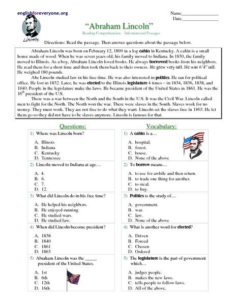 "Reading Comprehension 7th Grade Worksheet Reading Prehension Informational Passages ""abraham"