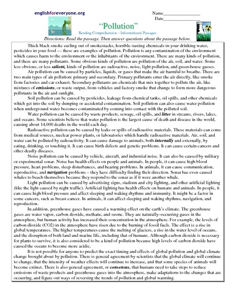 "Reading Comprehension 7th Grade Worksheet Reading Prehension Informational Passages ""pollution"