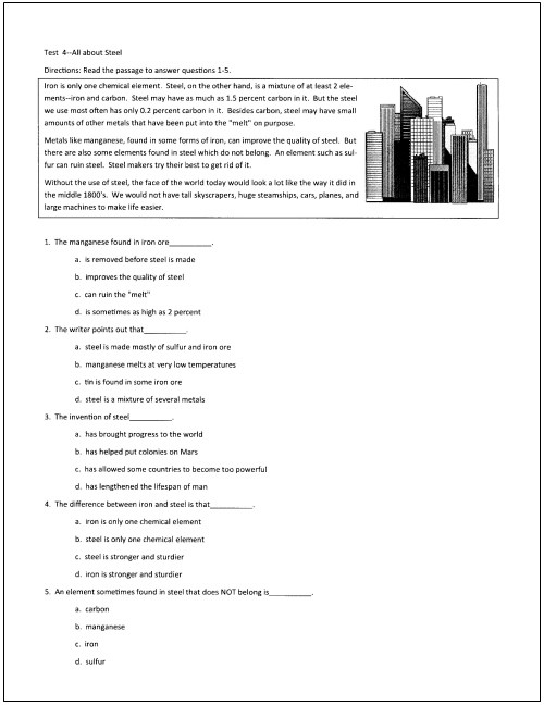 Reading Worksheets 5th Grade 10 Free Reading Tests for Students In Grades 5 Through 9