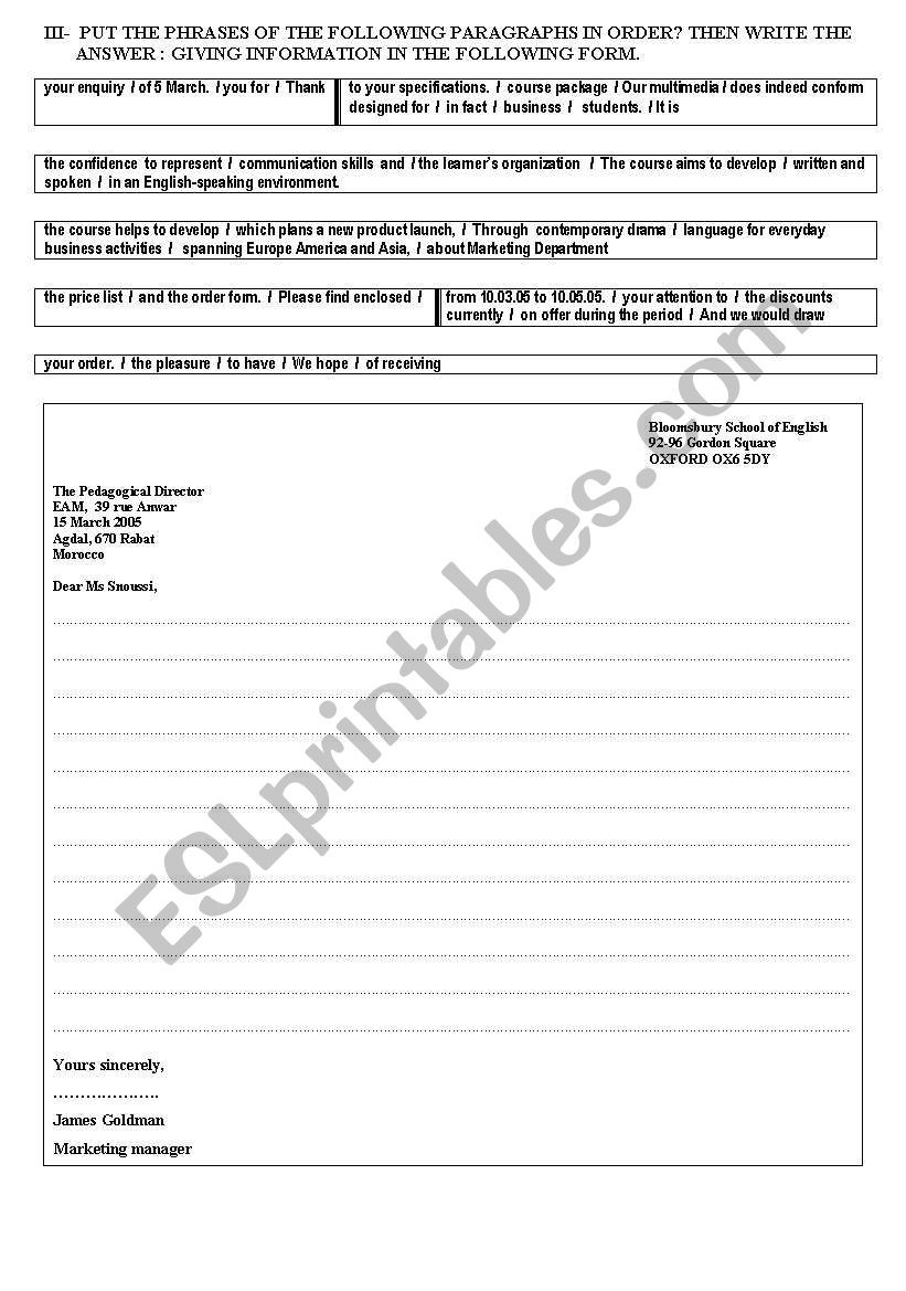 Reading Worksheets 5th Grade Business Writing Esl Worksheet by Majidove Worksheets Free