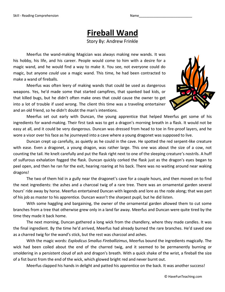 fireball wand fifth grade reading prehension worksheet