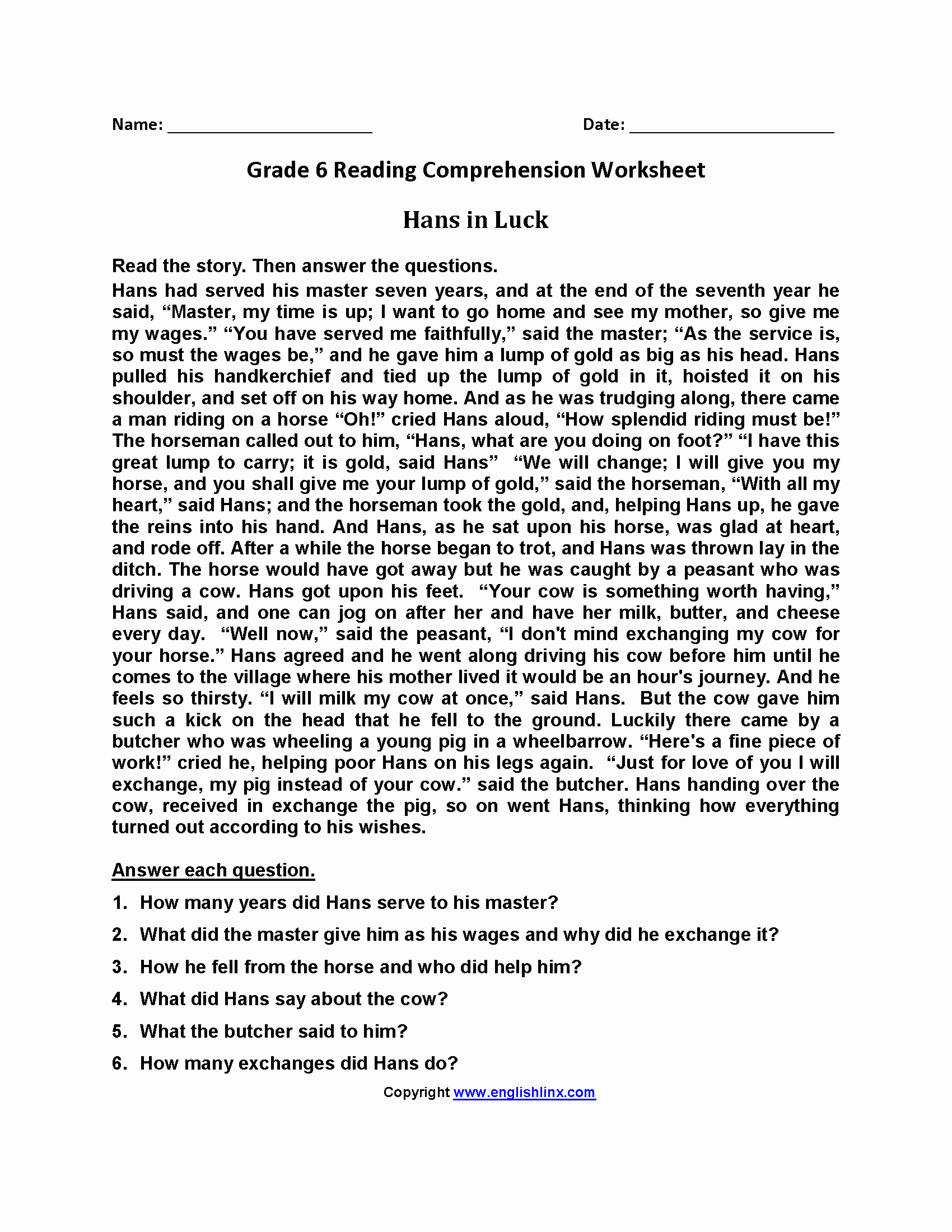 Reading Worksheets Grade 5 5 Grade Reading Worksheets